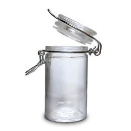 Bote de cristal redondo 4,5 cm diámetro x 8,5 cm altura.